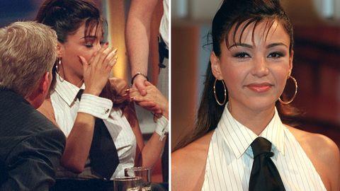 """Verona Pooth bei ihrem Auftritt in der """"Johnannes B. Kerner""""-Show im Oktober 2001"""
