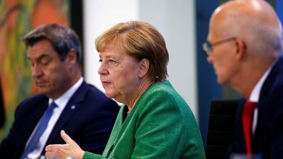 Söder Merkel Tschentscher Corona-Regeln