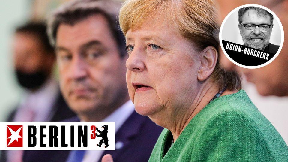 Berlin hoch 3 Merkel und Söder während der Pk nach Corona-Verhandlungen