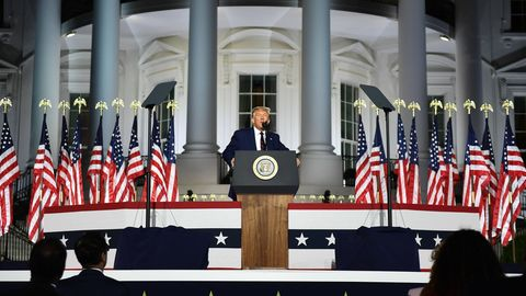 Donald Trump während seiner Nominierungsrede vor dem Weißen Haus