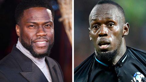 Schauspieler Kevin Hart (links) und 100-Meter-Weltrekordler Usain Bolt (rechts)