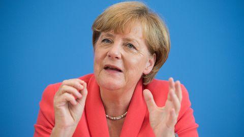 Bundeskanzlerin Angela Merkel am 31. August 2015 auf einer Pressekonferenz