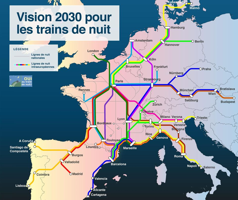 So könnte das Nachtzug-Netz in Europa in zehn Jahren aussehen