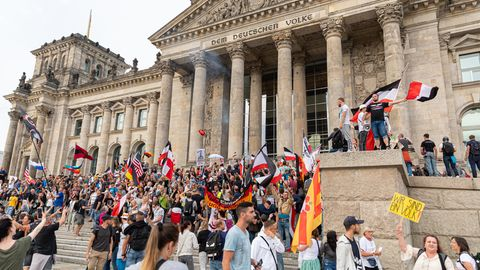 Demonstranten mit Reichsflaggen stehen auf den Stufen vor dem Reichstag in Berlin