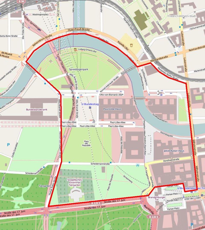 Karte Bannmeile Reichstag Berlin