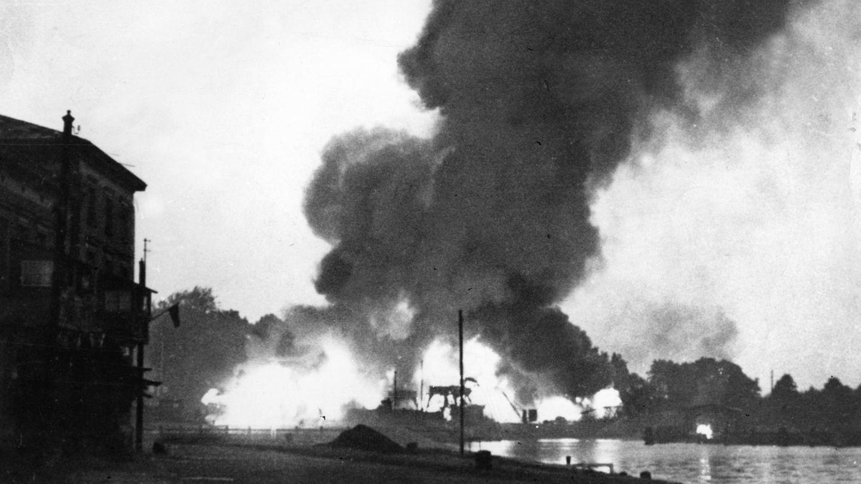 Beschuss der Westerplatte in Danzig am 1. September 1939