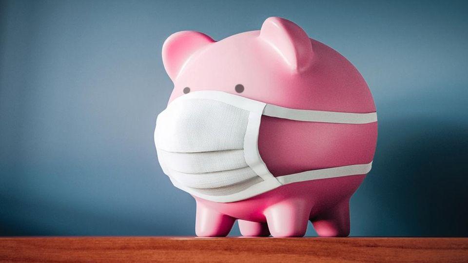 Sparschwein mit Maske