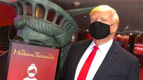 Madame Tussauds: US-Präsident Donald Trump als Wachsfigur mit Mundschutz