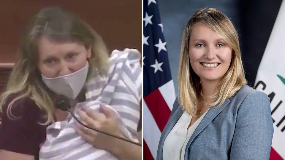 Buffy Wicks – Demokratin hält Rede im kalifornischen Unterhaus, mit ihrem Baby auf dem Arm.