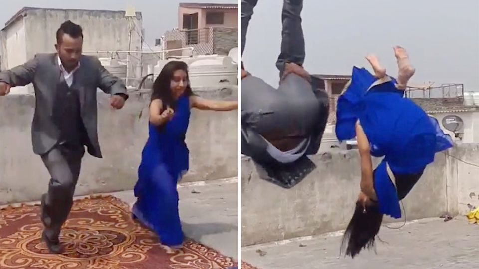 Mit Sari und Anzug: Indisches Paar begeistert mit Gymnastik-Stunt.