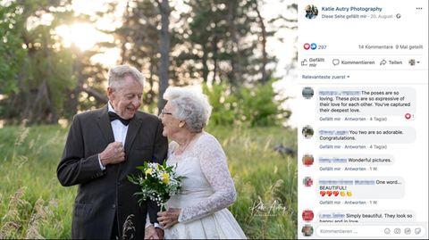 Diamantene Hochzeit: Nach 60 Jahren lässt sich ein Ehepaar im Original-Hochzeitsoutfit fotografieren