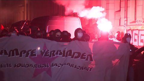 Wieder Krawalle in Leipzig - Steinwürfe bei Demonstration