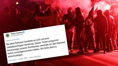 """Polizei Sachsen teilt """"Linkes Pack""""-Tweet – und entschuldigt sich"""