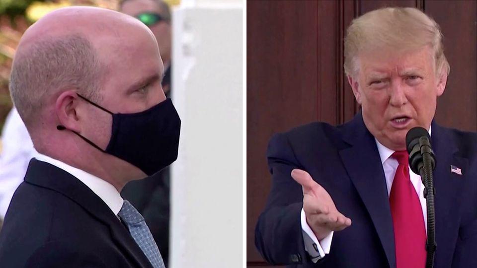 Bei einer Pressekonferenz: Donald Trump fordert Journalisten auf, seine Maske abzunehmen