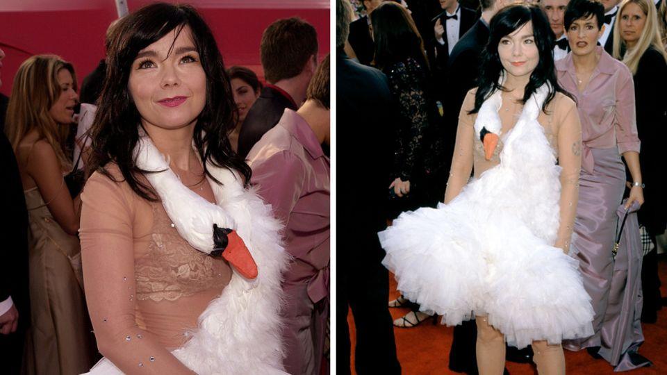 Sängerin Björk sorgte mit ihrem Schwanenkleid für Aufsehen