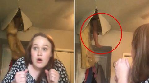 Mutter kracht durch Zimmerdecke der Tochter