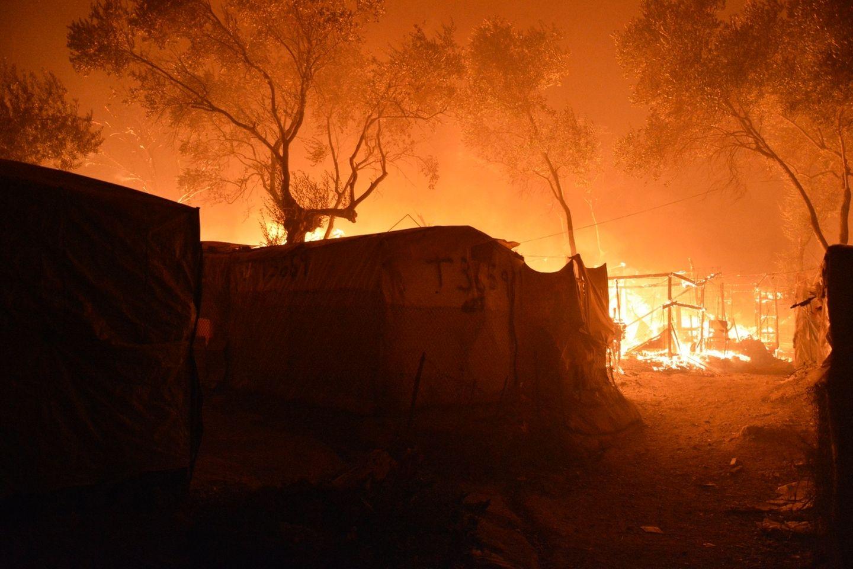 Brand im Flüchtlingslager Moria auf Lesbos