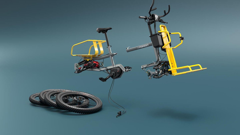 Das Bike lässt sich relativ handlich zerlegen.