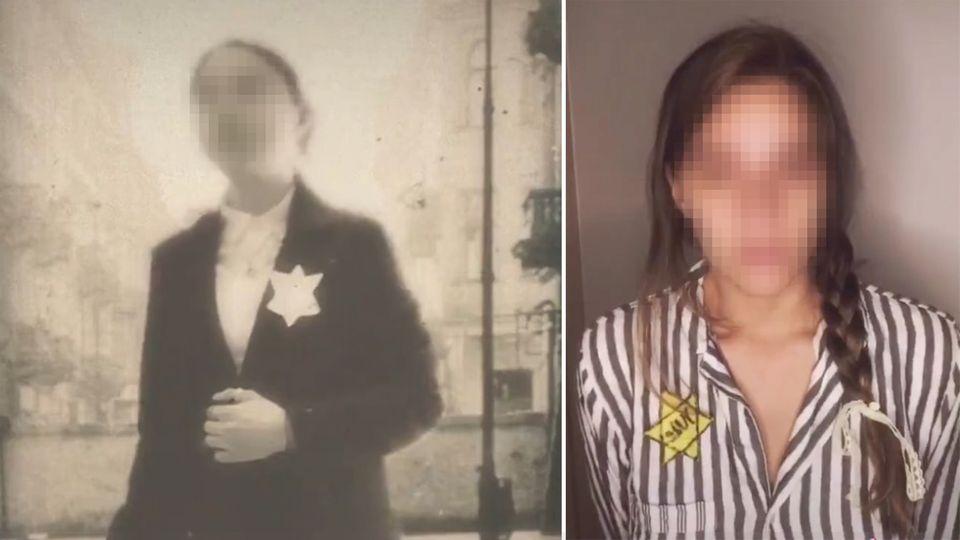 Nutzer der Videoplattform TikTok inszenieren sich in kurzen Clips als Holocaustopfer.
