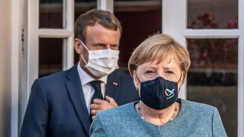 Bundeskanzlerin Angela Merkel (CDU, r.) und der französische Präsident Emmanuel Macron