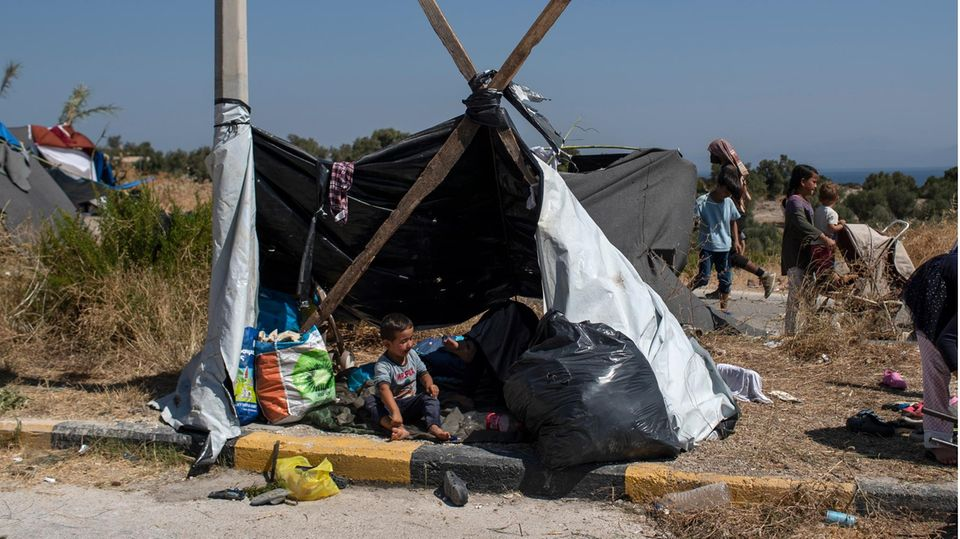 Obdachlosen Menschen auf Lesbos