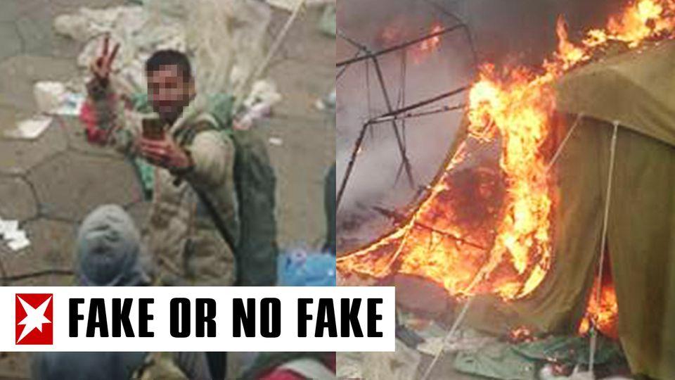 Ein Flüchtling macht ein Selfie vor einem brennenden Zelt.