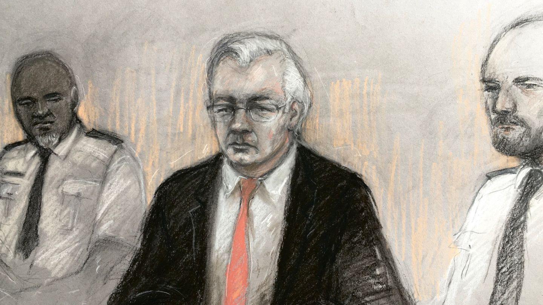 Skizze einer Gerichtszeichnerin, die Julian Assange während seine Anhörung in London zeigt