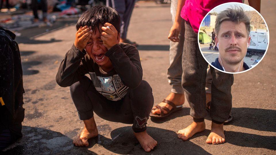 Ein Junge reibt sich die Augen nach dem Einsatz von Tränengas auf Lesbos.