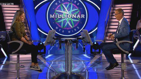 """""""Wer wird Millionär?""""-Kandidatin Fabienne Liese und Günther Jauch"""
