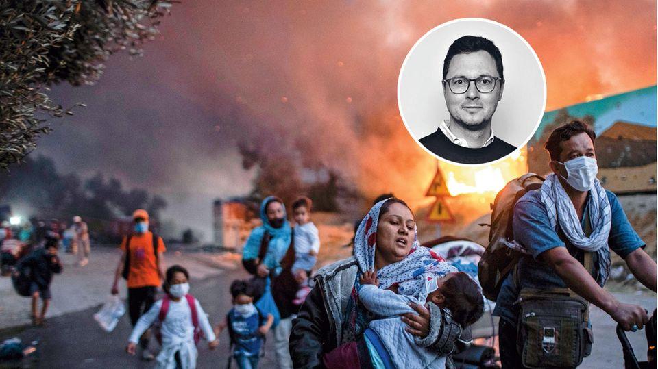 Flüchtlinge fliehen vor dem Feuer