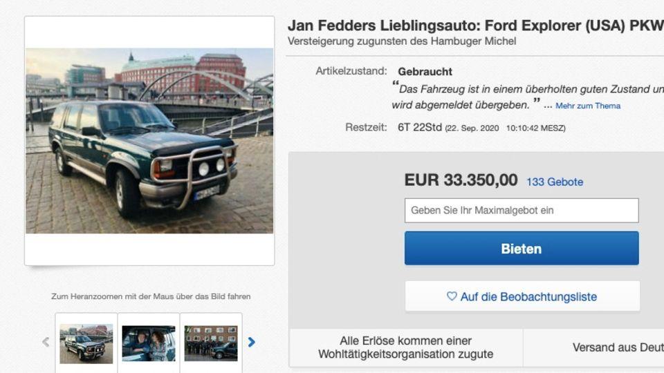 Jan Fedders Kultwagen wird auf eBay versteigert