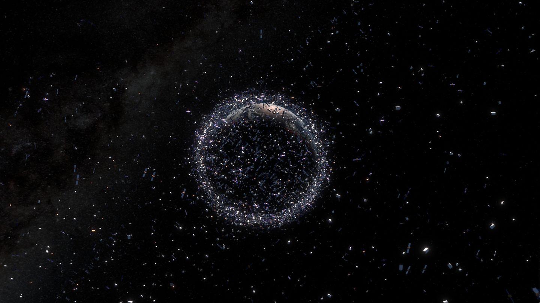 Weltraumschrott fliegt durchs All: Grafische Darstellung