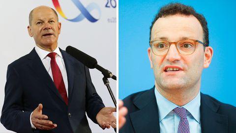 Bundesfinanzminister Olaf Scholz (l., SPD) und Bundesgesundheitsminister Jens Spahn (CDU)