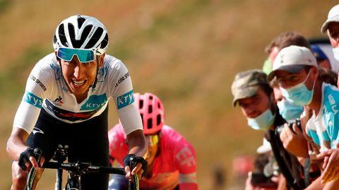 sport kompakt: Tour de France - Der Kolumbianer Egan Bernal mit schmerzverzerrtem Gesicht