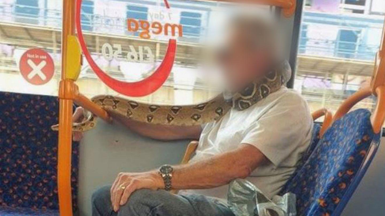 Mann trägt eine Schlange um den Hals