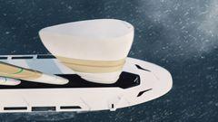 Die Konstruktion wird hoch- und runtergefahren, um die Segelfläche anzupassen.