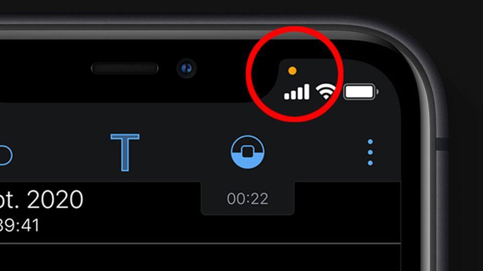 Der orangefarbene Punkt in iOS 14 weist darauf hin, dass eine App Zugriff auf das Mikrofon hat.