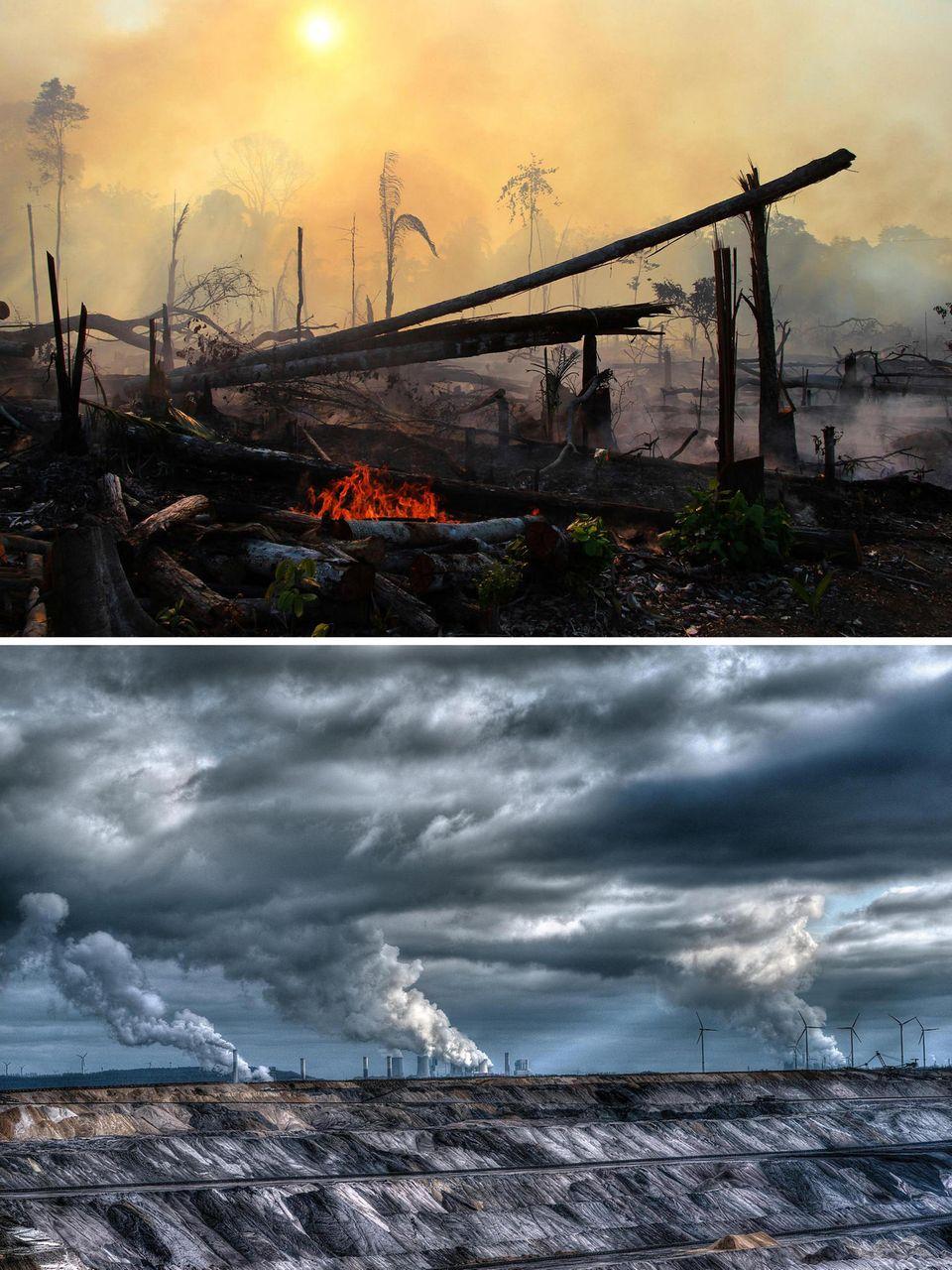 Oben: Feuer in Brasiliens Regenwald; Unten:  Tagebau in NRW