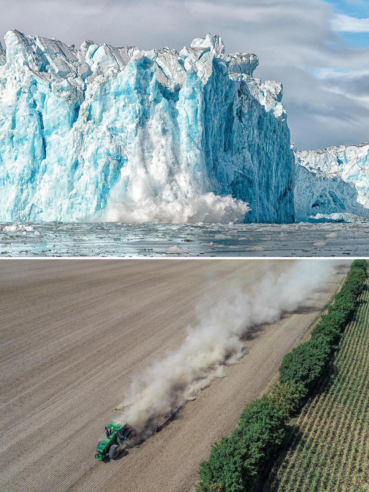 Oben: Der Gletscher Negribreen; Unten: Ein ausgedörrtes Feld in Brandenburg