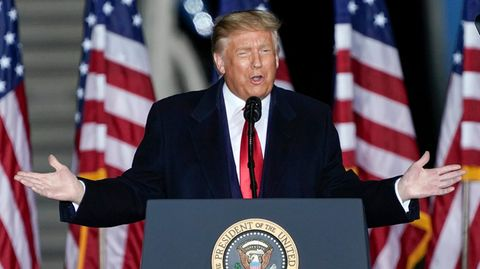 US-Präsident Donald Trump beieiner Wahlkampfkundgebung am Central Wisconsin Airport inMosinee