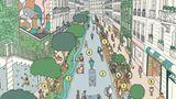 Eine Stadt für die Bürger und nicht für die Autos – das verspricht Anne Hidalgo. In ihrem Projket haben Fußgänger und Radfahrer absolute Vorfahrt und das Auto wird zum langsamsten Verkehrsmittel.Die Breite der Fahrbahn wird auf die Dimension zurückgeschraubt, die bei der Planung der Stadtviertel vorgesehen war.