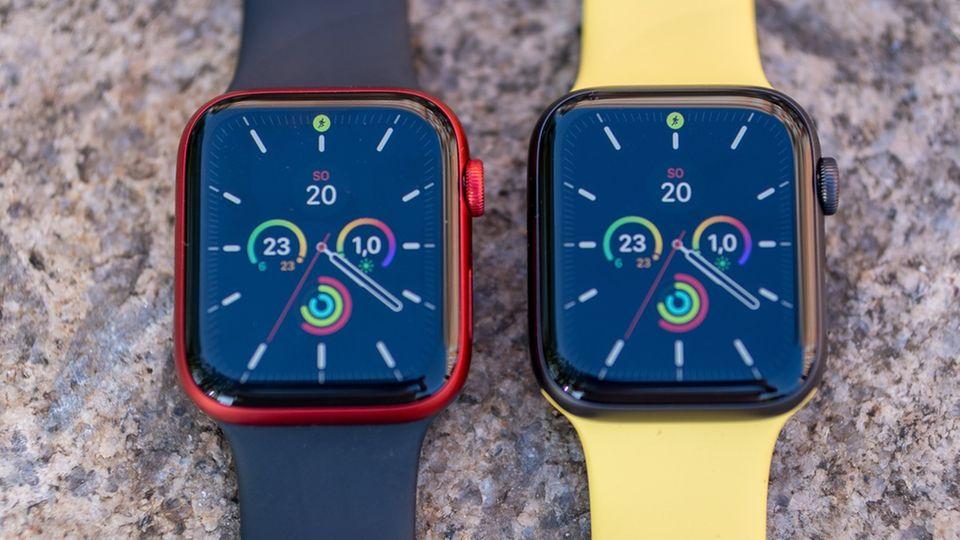 Links die Series 6, rechts die SE: Bei aktiviertem Display erkennt man keinen Unterschied.
