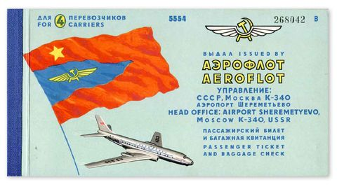 Aeroflot, Sowjetunion, 1972  Längst fliegt die russische Aeroflot mit Jets vom Typ Boeing und Airbus. Aber in den frühen 1970er Jahren bestand die Flotte aus Maschinen der Firmen Antonow, Iljuschin und Tupolew, wie diese Tu-104 auf der Tickethülle.