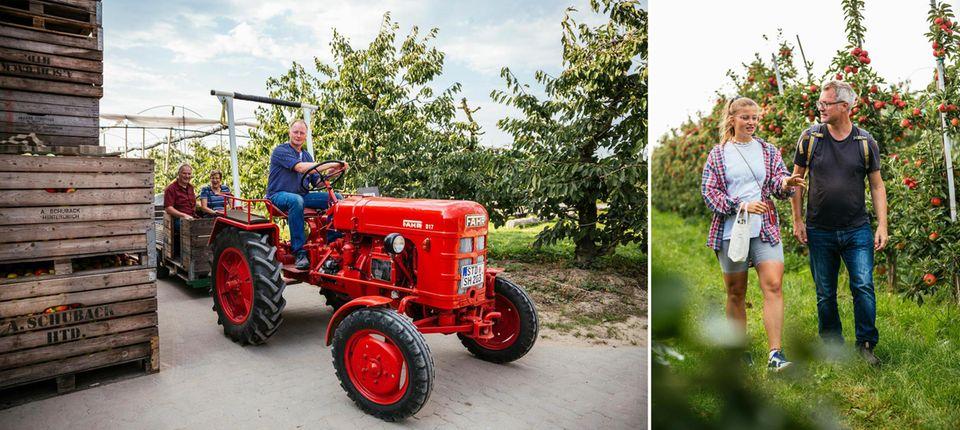 Links: Ein Traktor; Rechts: Leonie Bremer mit Gunnar Herbst