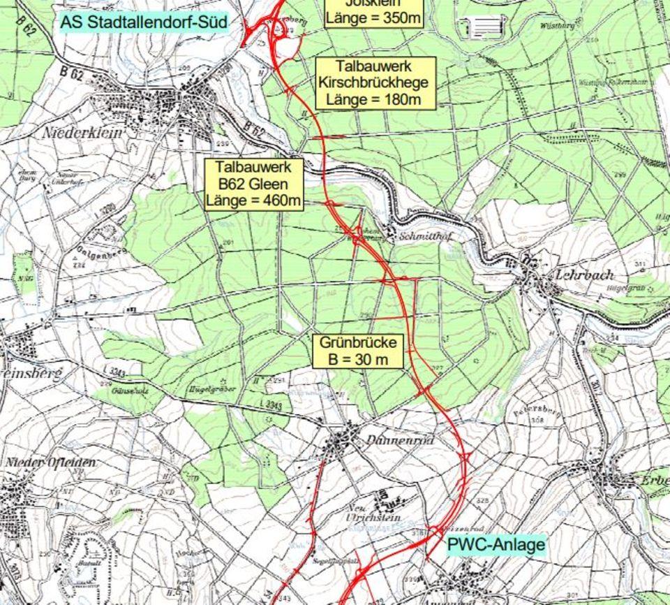 Die Pläne sehen vor, dass der Danneröder Forst von der Autobahn 49 durchschnitten wird