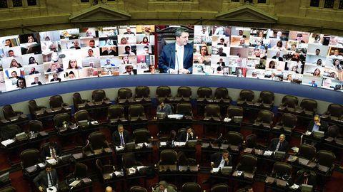 Eine Videositzung im argentinischen Parlament in Buenos Aires