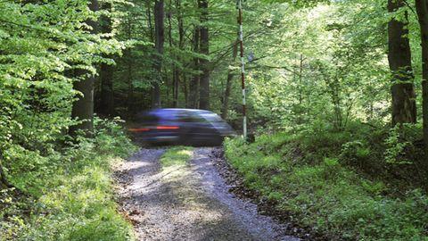 Nachrichten aus Deutschland: Auto auf einem Schotterweg im Wald