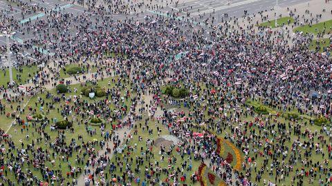 Luftaufnahmen aus Belarus: Demonstranten gehen gegenMachthaber Alexander Lukschenko auf die Straße