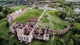 Ruschany, Weißrussland: Schloss Ruschany  Als Alexander Michal Saphicha in den 1780er Jahren den klassizistischen Palast errichten ließ, gehörte Weißrussland noch zu Polen-Litauen. Im 19. Jahrhundert zog in die Gebäude eine Textilfabrik ein, die 1914 abbrannte.