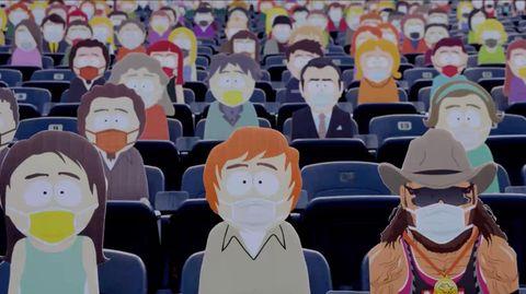 """Pappaufsteller von """"South Park""""-Figuren füllen ein leeres Stadion in Denver aus."""